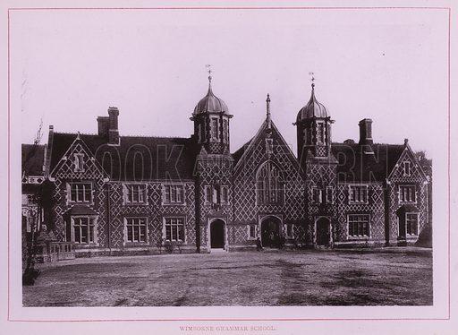 Wimborne Grammar School. Illustration for Wimbourne Minster and Neighbourhood (J J Hobbs, c 1895).  Gravure printed.