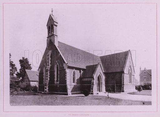 St Johns Church. Illustration for Wimbourne Minster and Neighbourhood (J J Hobbs, c 1895).  Gravure printed.
