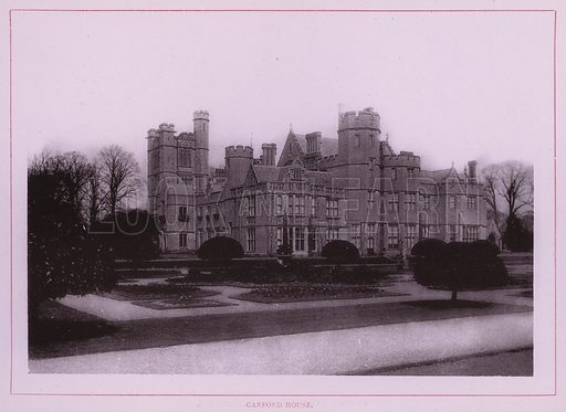 Canford House. Illustration for Wimbourne Minster and Neighbourhood (J J Hobbs, c 1895).  Gravure printed.