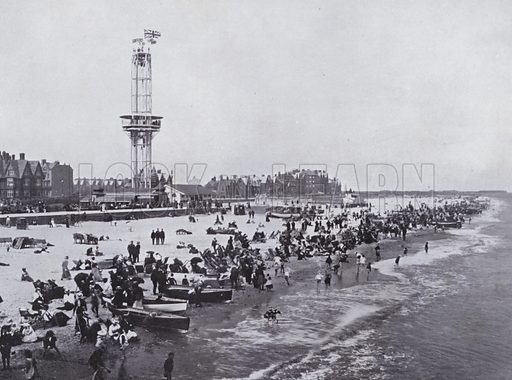 Beach and Tower, looking North from Britannia Pier. Illustration for Photographic View Album of Yarmouth and District (Valentine, c 1895).