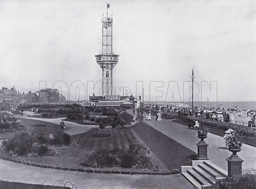 Beach Gardens and Tower, Yarmouth. Illustration for Photographic View Album of Yarmouth and District (Valentine, c 1895).