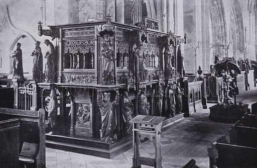 St Nicholas Church, The Pulpit. Illustration for Photographic View Album of Yarmouth and District (Valentine, c 1895).