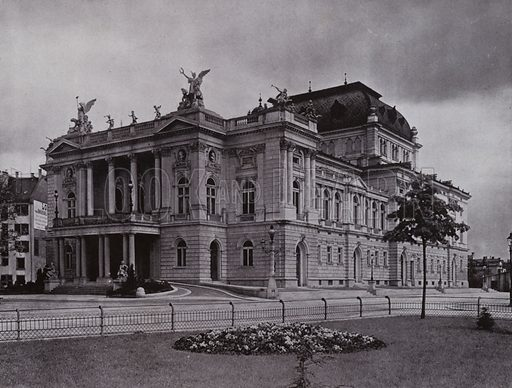 Zurich, Das Stadttheater. Illustration for a souvenir album Zurich & See (Wehrli, c 1910).