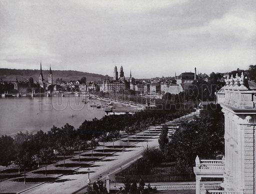 Zurich, Utoquai. Illustration for a souvenir album Zurich & See (Wehrli, c 1910).