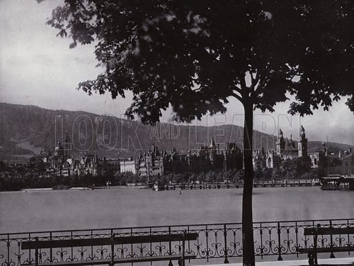 Zurich, Alpenquai. Illustration for a souvenir album Zurich & See (Wehrli, c 1910).