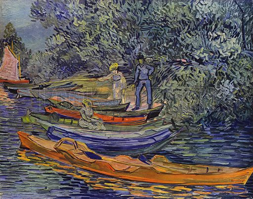 Bank of the river with rowing-boats at Anvers, 1890. Illustration for Vincent Van Gogh by L Goldscheider and W Uhde (Phaidon, 1945).