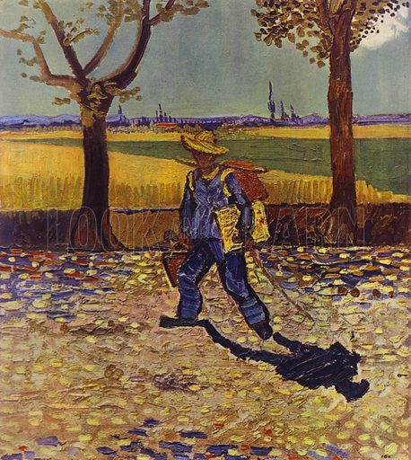 The painter on his way to work, or the road to Tarascon, August 1888. Illustration for Vincent Van Gogh by L Goldscheider and W Uhde (Phaidon, 1945).