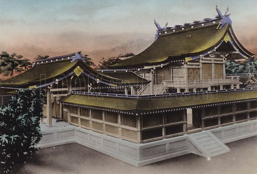 Main Building of Meiji Jingu, Shrine, Tokyo. Illustration for Selected Pictures of Mikado's Empire, Fine Souvenir for Visit to Japan, Coloured by Hand (np, c 1912).