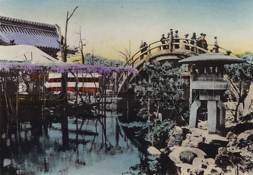 Kameido Temple ground noted for Wisteria blossom in May and Drum Bridge in the groung. Illustration for Selected Pictures of Mikado's Empire, Fine Souvenir for Visit to Japan, Coloured by Hand (np, c 1912).