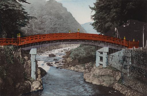 Sacred Bridge at Nikko, 90 miles north of Tokyo. Illustration for Selected Pictures of Mikado's Empire, Fine Souvenir for Visit to Japan, Coloured by Hand (np, c 1912).