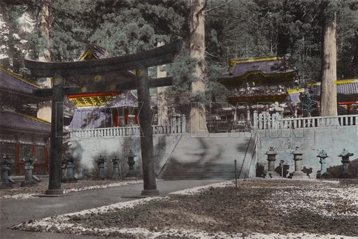 Mausoleum and it's ground for the first Shogun, Iyeyasu of Tokugawa dynasty, nearly 300 years old Nikko. Illustration for Selected Pictures of Mikado's Empire, Fine Souvenir for Visit to Japan, Coloured by Hand (np, c 1912).