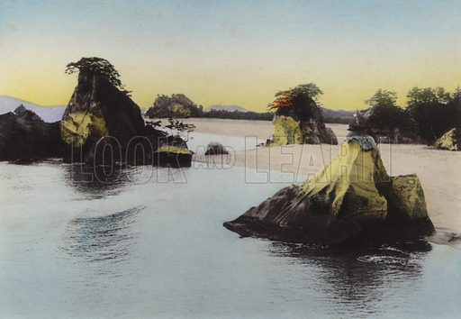Matsushima, in Inland Sea one of three noted scenes of Japan. Illustration for Selected Pictures of Mikado's Empire, Fine Souvenir for Visit to Japan, Coloured by Hand (np, c 1912).