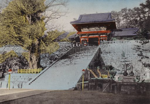 Hachiman Temple, dedicated for the god of war founded at the end of 12th century, Kamakura. Illustration for Selected Pictures of Mikado's Empire, Fine Souvenir for Visit to Japan, Coloured by Hand (np, c 1912).