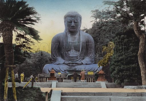 The Finest Daibutsu, or Great Budha at Kamakura dates from 1252 Height 49 feet and 7 in, By train 50 minutes from Yokohama. Illustration for Selected Pictures of Mikado's Empire, Fine Souvenir for Visit to Japan, Coloured by Hand (np, c 1912).