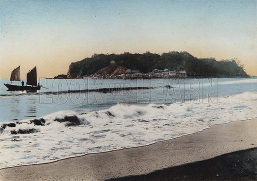 Enoshima Island viewed near Kamakura. Illustration for Selected Pictures of Mikado's Empire, Fine Souvenir for Visit to Japan, Coloured by Hand (np, c 1912).