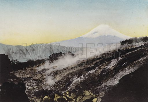 Fuji from Ohwakudani, Hakone. Illustration for Selected Pictures of Mikado's Empire, Fine Souvenir for Visit to Japan, Coloured by Hand (np, c 1912).