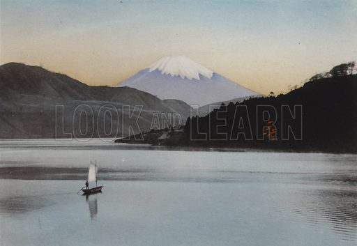 Mount Fuji from Hakone Lake. Illustration for Selected Pictures of Mikado's Empire, Fine Souvenir for Visit to Japan, Coloured by Hand (np, c 1912).