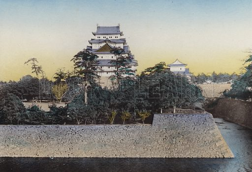 The famous Nagoya Castle, dates from 1610; Very noted for gold dolphinson the top of keep, the height of dolphin is 8 ft 7 in and valued about 360,000 yen, Nagoya. Illustration for Selected Pictures of Mikado's Empire, Fine Souvenir for Visit to Japan, Coloured by Hand (np, c 1912).