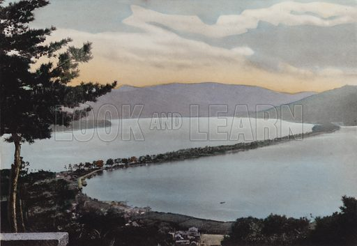 Amano-Hashidate one of three most noted scenes of Japan; About 80 miles from Kyoto. Illustration for Selected Pictures of Mikado's Empire, Fine Souvenir for Visit to Japan, Coloured by Hand (np, c 1912).