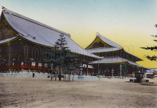Higashi Honganji Temple, Kyoto; It's the largest and costliest temple in Japan. Illustration for Selected Pictures of Mikado's Empire, Fine Souvenir for Visit to Japan, Coloured by Hand (np, c 1912).