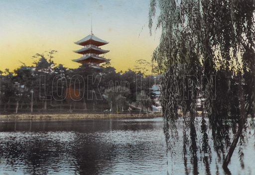 View of the Pagoda at Nara from Sarusawa Pond. Illustration for Selected Pictures of Mikado's Empire, Fine Souvenir for Visit to Japan, Coloured by Hand (np, c 1912).