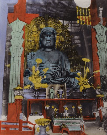 The Biggest Daibutsu in Japan dates from 749 and height is 53 1/2 feet and the face being 16 feet long at Nara. Illustration for Selected Pictures of Mikado's Empire, Fine Souvenir for Visit to Japan, Coloured by Hand (np, c 1912).