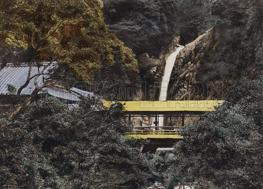Nunobiki Waterfall is 43 feet high, the city of Kobe get supply of water from this fall, Kobe. Illustration for Selected Pictures of Mikado's Empire, Fine Souvenir for Visit to Japan, Coloured by Hand (np, c 1912).