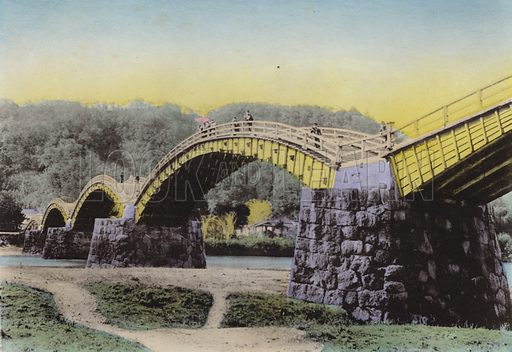"Kintaikyo, Lit ""Bridge of Damask Girdle,"" noted in Japan, Suwo province. Illustration for Selected Pictures of Mikado's Empire, Fine Souvenir for Visit to Japan, Coloured by Hand (np, c 1912)."