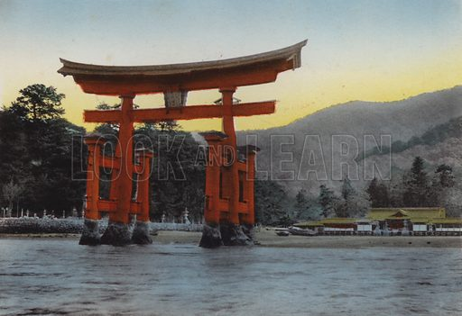 The Sacred island, Miyajima, in inland sea, one of three most noted scenes of Japan; The Temple was erected here by Kiyomori in the 12th century. Illustration for Selected Pictures of Mikado's Empire, Fine Souvenir for Visit to Japan, Coloured by Hand (np, c 1912).