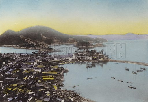 Tomo at Bingo Province in the inland sea; A little sea port famed for it's beauty. Illustration for Selected Pictures of Mikado's Empire, Fine Souvenir for Visit to Japan, Coloured by Hand (np, c 1912).