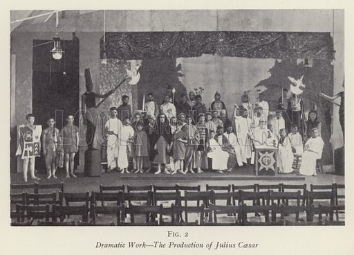 Dramatic Work, The Production of Julius Caesar. Illustration for The Practical Senior Teacher edited by F F Potter (New Era, 1933).
