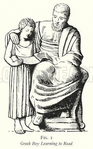 Greek Boy Learning to Read. Illustration for The Practical Senior Teacher edited by F F Potter (New Era, 1933).