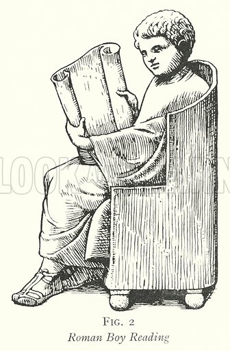 Roman Boy Reading. Illustration for The Practical Senior Teacher edited by F F Potter (New Era, 1933).