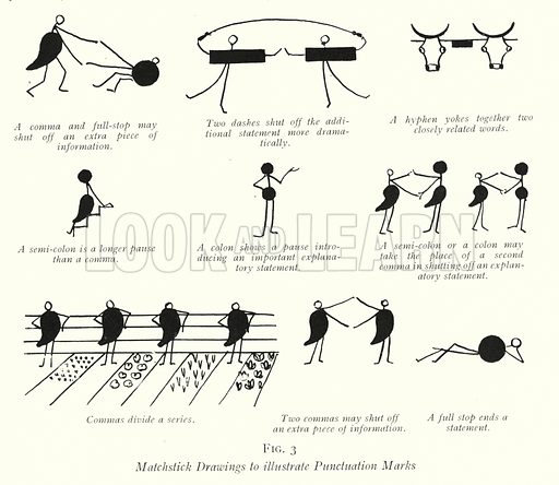 Matchstick Drawings to illustrate Punctuation Marks. Illustration for The Practical Senior Teacher edited by F F Potter (New Era, 1933).