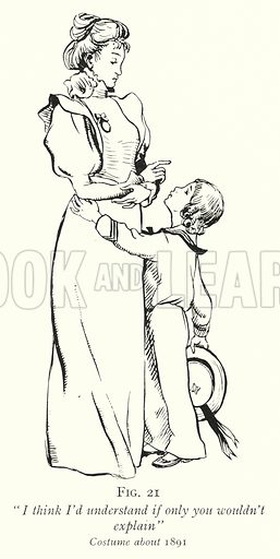 """""""I think I'd understand if only you wouldn't explain,"""" Costume about 1891. Illustration for The Practical Senior Teacher edited by F F Potter (New Era, 1933)."""