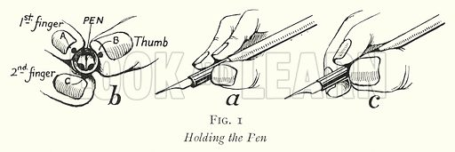 Holding the Pen. Illustration for The Practical Senior Teacher edited by F F Potter (New Era, 1933).