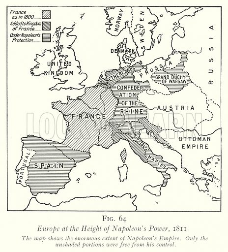 Europe at the Height of Napoleon's Power, 1811. Illustration for The Practical Senior Teacher edited by F F Potter (New Era, 1933).
