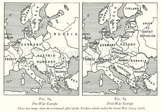 Pre-War Europe; Post-War Europe. Illustration for The Practical Senior Teacher edited by F F Potter (New Era, 1933).