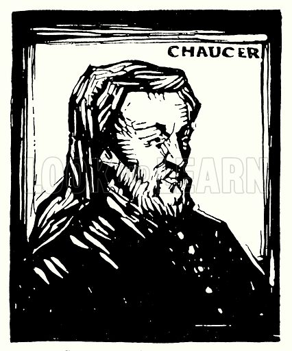 Silhouette portrait, Geoffrey Chaucer. Illustration for The Practical Junior Teacher edited by F F Potter (New Era, 1948).