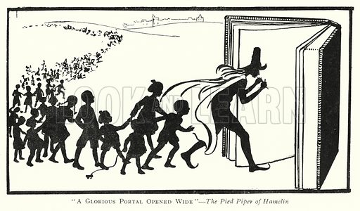 """""""A Glorious Portal Opened Wide,"""" The Pied Piper of Hamelin. Illustration for The Practical Junior Teacher edited by F F Potter (New Era, 1948)."""