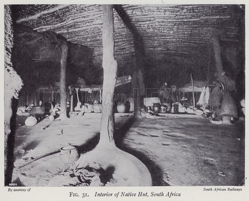 Interior of Native Hut, South Africa. Illustration for The Practical Junior Teacher edited by F F Potter (New Era, 1948).