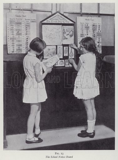 The School Notice Board. Illustration for The Practical Junior Teacher edited by F F Potter (New Era, 1948).