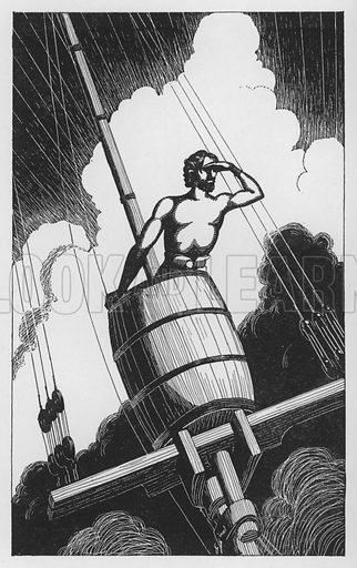 Landfall. Illustration for Wanderlust A Travel Anthology compiled by Roy Lacey with drawings by J Yunge Bateman (Winchester Publications, 1948).