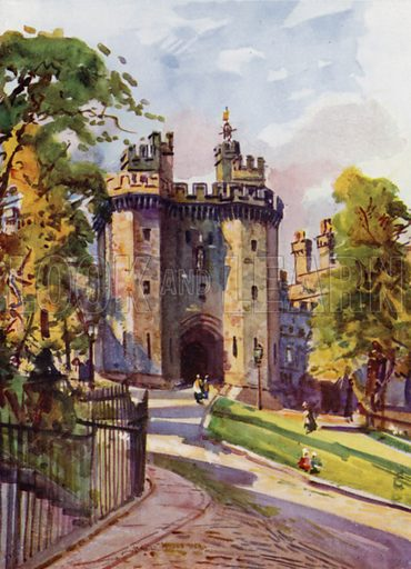 Lancaster Castle, the Gateway. Illustration for Lancashire painted by Albert Woods and described by F A Bruton (A&C Black 1921).