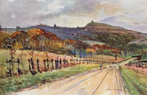 Rivington, near Bolton. Illustration for Lancashire painted by Albert Woods and described by F A Bruton (A&C Black 1921).