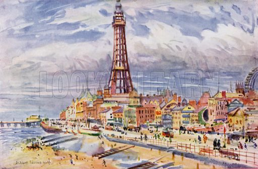Blackpool. Illustration for Lancashire painted by Albert Woods and described by F A Bruton (A&C Black 1921).
