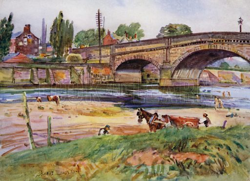 Walton-le-Dale, the Bridge. Illustration for Lancashire painted by Albert Woods and described by F A Bruton (A&C Black 1921).
