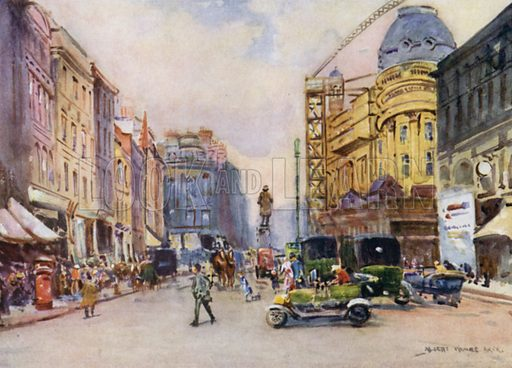 Manchester, St Ann's Square. Illustration for Lancashire painted by Albert Woods and described by F A Bruton (A&C Black 1921).