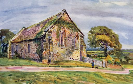 St Saviour's Chapel, Stidd. Illustration for Lancashire painted by Albert Woods and described by F A Bruton (A&C Black 1921).