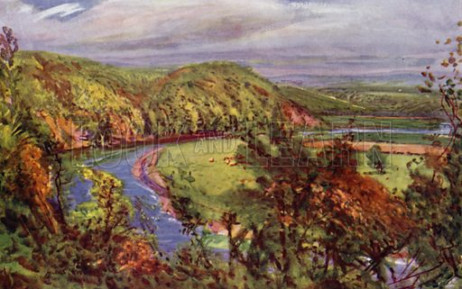 The Horseshoe Bend, Redscar. Illustration for Lancashire painted by Albert Woods and described by F A Bruton (A&C Black 1921).